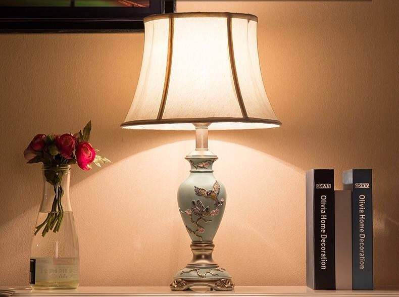 LED American Style Table Lamp Bedroom Bedside Lamp European Style Bedside Lamp Warm Romantic Decoration Table Lamp Living Room Creative Classical Retro Lamp Warm Light Fabric Shade with Bulb Creative Lamp (Energy Class A++) - intl