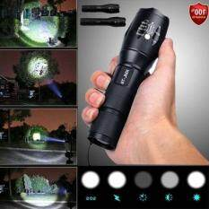 LED Flashlight 5 Mode Zoomable Waterproof Torch Outdoor Sports Camping & Hiking (Color: Black)