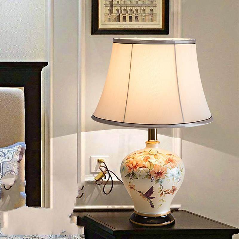 LED Jingdezhen Ceramic Table Lamp European Style Bedroom Bedside Lamp Romantic Decoration Table Lamp Living Room Creative Classical Retro Lamp Warm Light Fabric Shade with Bulb (Energy Class A++) - intl Singapore
