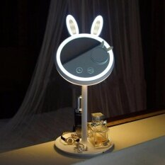 LED  Lamp Makeup Mirror with 24 LED Lights Rechargeable 180 Degree Rotation Storage White