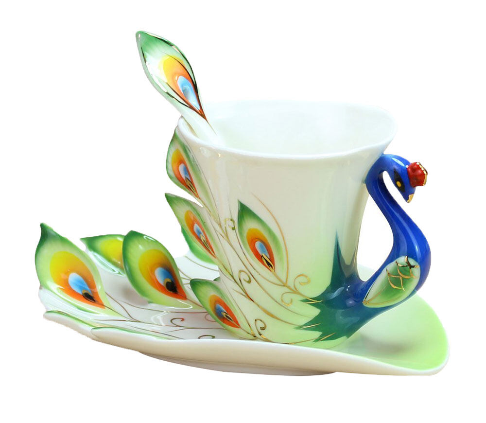 Buy Sell Cheapest 200ml Electric Coffee Best Quality Product Deals Wrp On The Go Bundle 4 Hand Crafted China Enamel Porcelain Tea Mug Cup Set With Spoon And Saucer Green