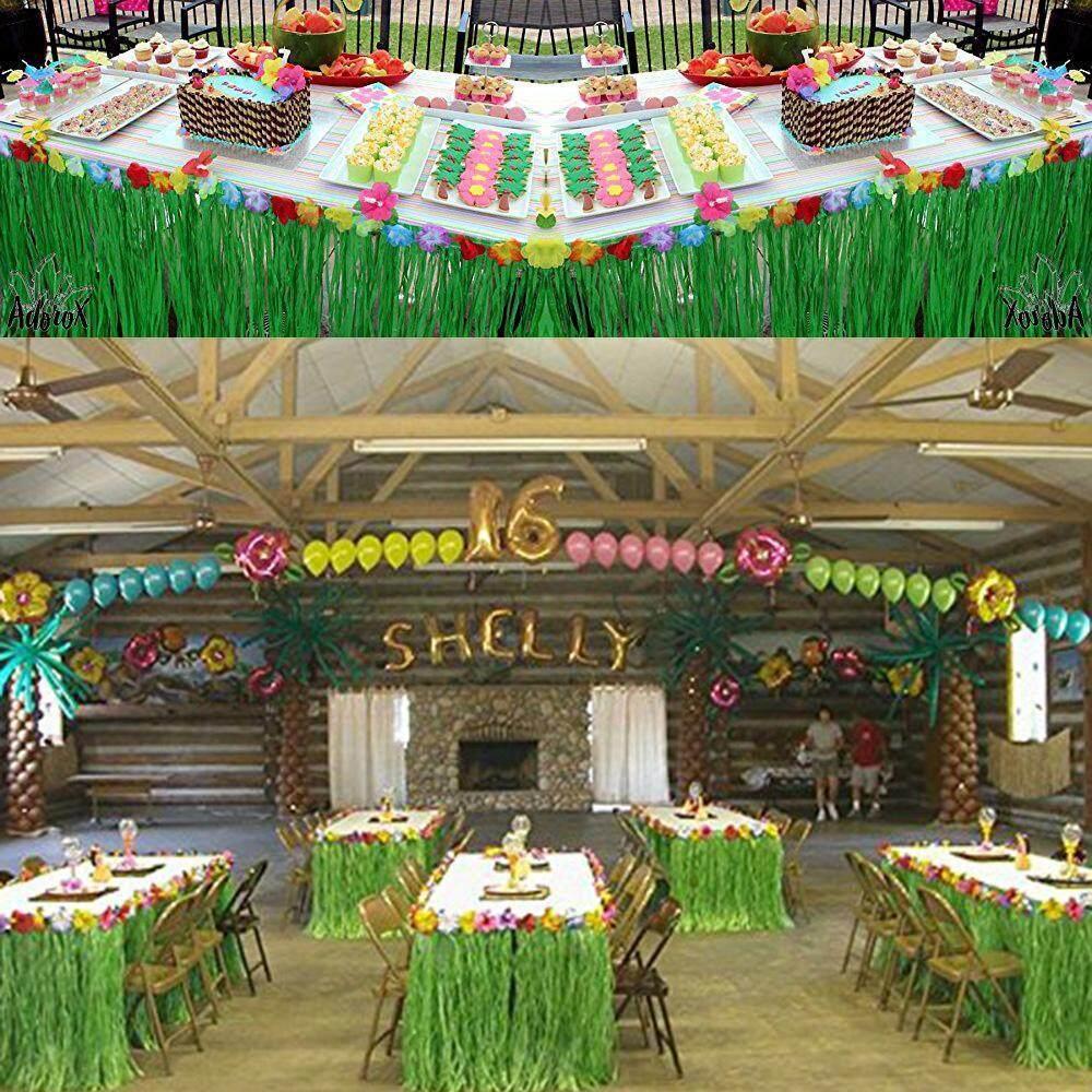 Buy Leegoal Hawaiian Table Skirt 1Pcs Hawaiian Luau Grass Table Skirt With 20Pcs Hibiscus Flowers For Tabletop Decoration Jungle Beach Party Supplies Intl Online