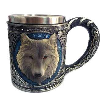 หมาป่าแก้วน้ำดื่มเรซินสแตนเลส Retro Retro 3D หมาป่ารูปแบบถ้วยไวน์ - Blue, 450 มิลลิลิตร-