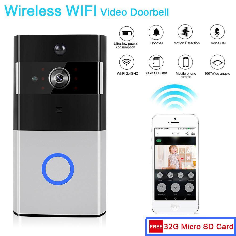 LOOSAFE Wireless WIFI Video DoorbellSmart 720P HD Alarm System 720P Security Camera Doorbell with PIR Motion Detection Real-Time Two-Way Audio and VideoInside 32G Memory Card Storage Phone Remote Control