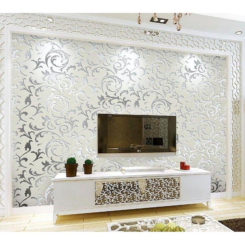 ... Sticker Border 10m X 10cm Blue . Source · Lovely Clover Wallpaper Luxury Design Modern Metallic Luster MirrorTV Wall Living Room Background Wall 3D Wall