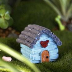Lovely Miniature House Fairy Garden Micro Landscape Home Decoration Resin Blue