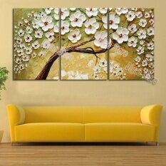 3 Pieces Lucky Flower Tree Painting Hand Painted Oil Painting Modern Home Wall Decoration