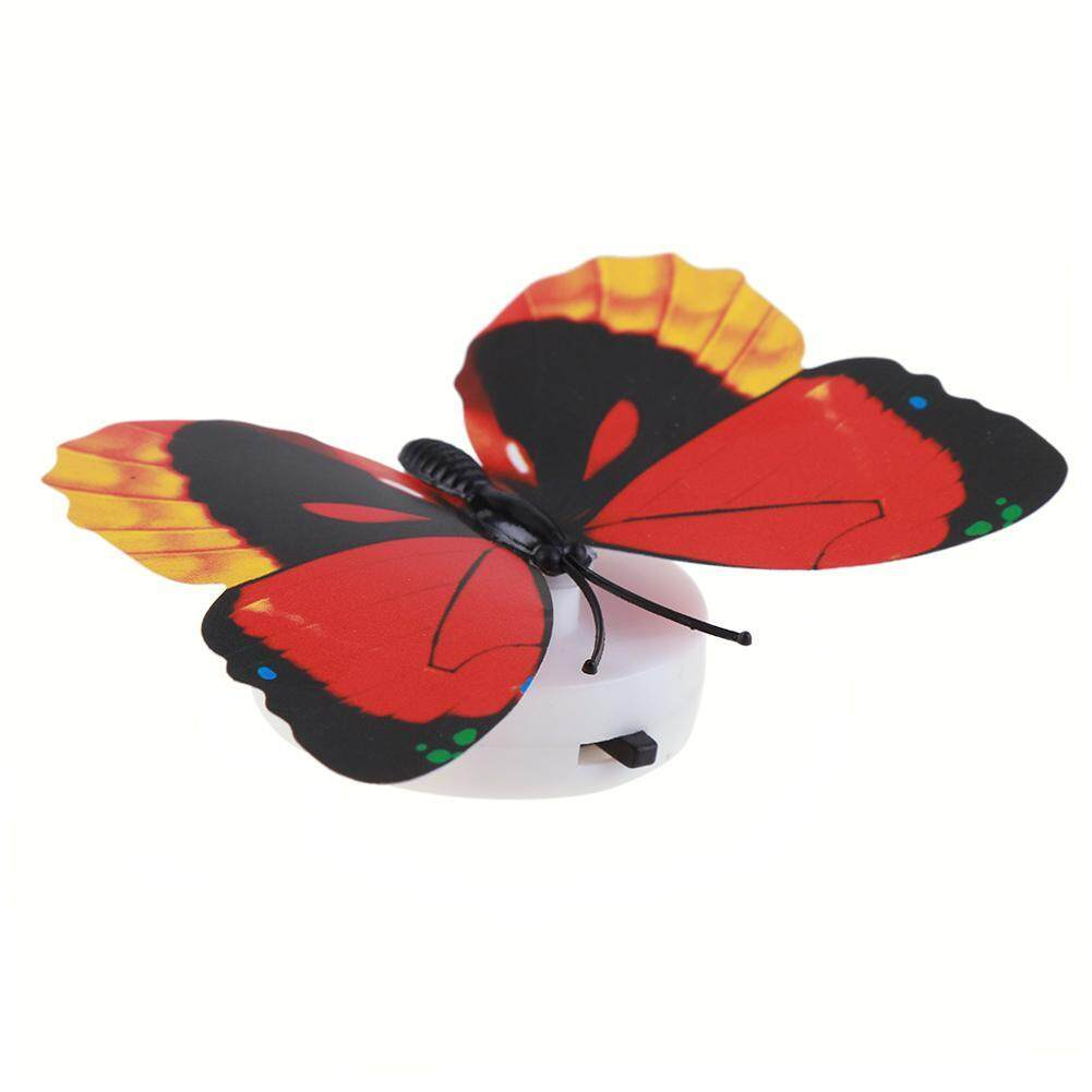 Luminous Butterfly LED Night Light Lamp Wall Pasted Home Decoration(Random) - intl Singapore