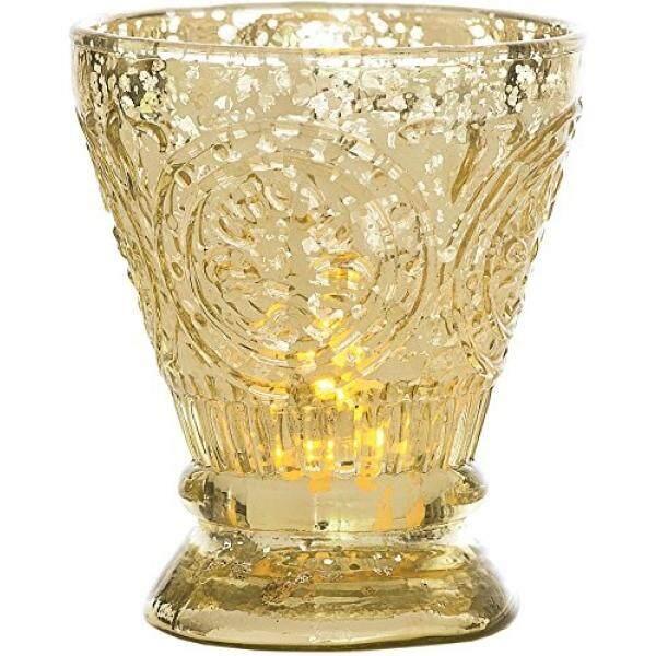 Luna Bazaar Antik Mercury Kaca Lilin Penahan (4-Inci, Rosemary Desain, Emas) -untuk Penggunaan dengan Lampu Teh-untuk Dekorasi Rumah, Pesta, dan Dekorasi Pernikahan-Internasional