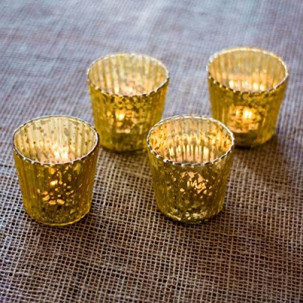 Luna Bazaar Antik Mercury Kaca Lilin Holders (3-Inci, Caroline Desain, Motif Vertikal, Emas, set dari 4)-untuk Penggunaan dengan Lampu Teh-untuk Pesta, Pernikahan, dan Rumah-Mercury Kaca Votive Holders-Internasional