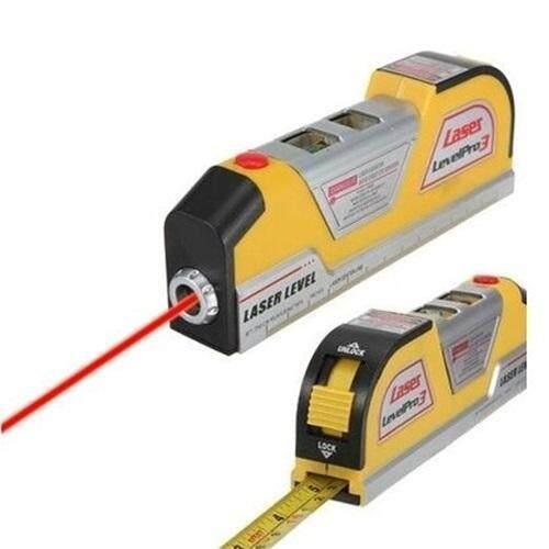... LV02 Laser Level Horizontal Garis Vertikal Mengukur Pita Pengukur 8 Ft Warna Kuning