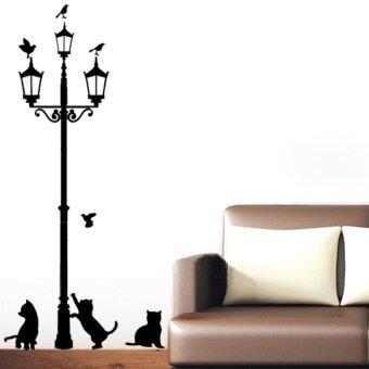 LZ 3 Sedikit Kucing Di Bawah Lampu Jalan DIY Dinding Stiker Wallpaper Artdecor Ruang Mural Stiker-Internasional