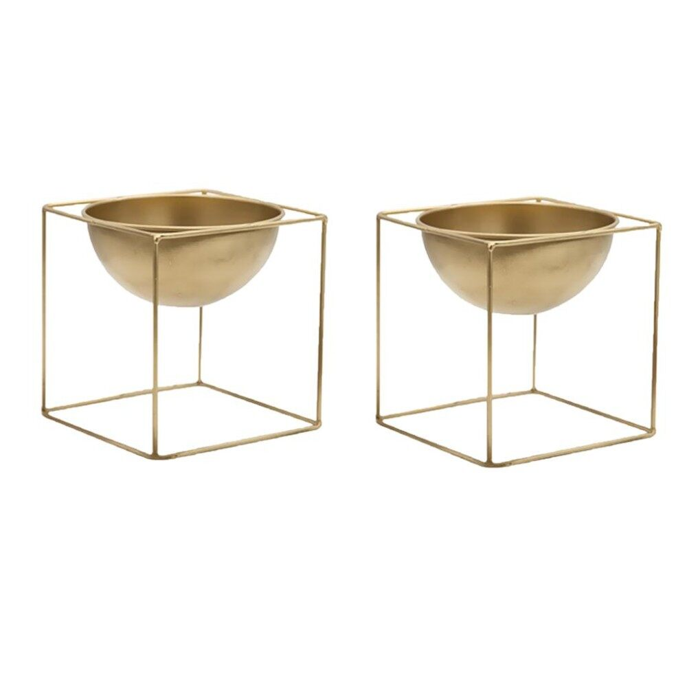 Coupon Magideal 2 Pieces Flower Pot With Stand Garden Plant Metal Iron Planter Home Decor Intl