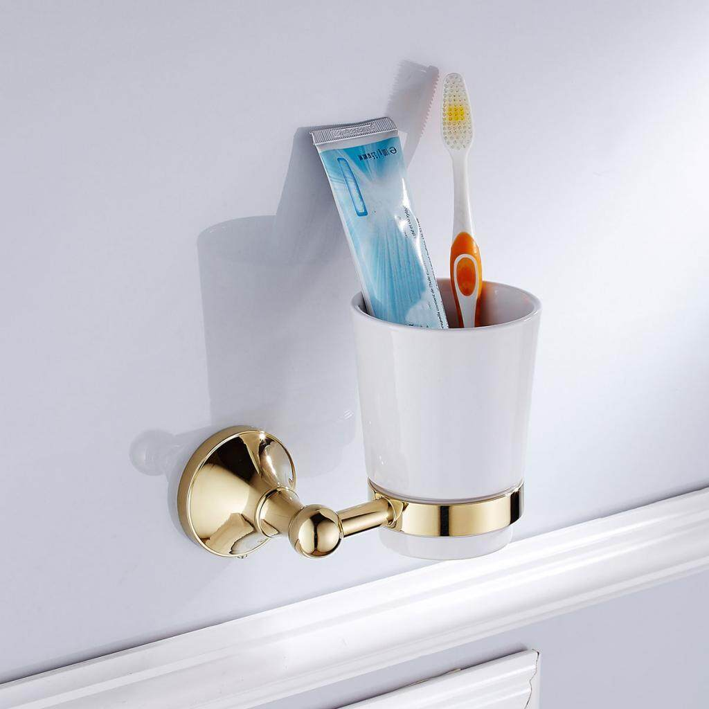 Who Sells Magideal Toothbrush Holder Hot Vintage Wall Mounted Ceramic Cup Golden Brass 1 Cup Intl Cheap