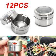 Magnetic Spice Tins Stainless Steel Storage Container Jars Clear Lid Set Of 12 By Teamwin.