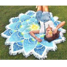 พรมทอแขวนผนังลายแมนดาล่า Lotus เสื่อโยคะดอกไม้สไตล์โบฮีเมียนพิมพ์ผ้าเช็ดตัวชายหาดกับพู่ By All About Home.