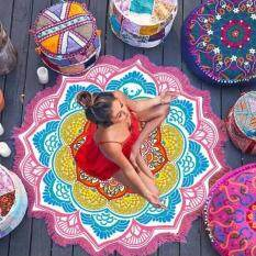 Mandala Tapestry With Tassel Lotus Printed Beach Towel Bohemian Yoga Mat( size:3 )