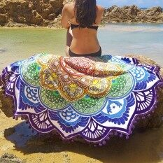 Mandala Tapestry With Tassel Lotus Printed Beach Towel Bohemian Yoga Mat( size:6 )