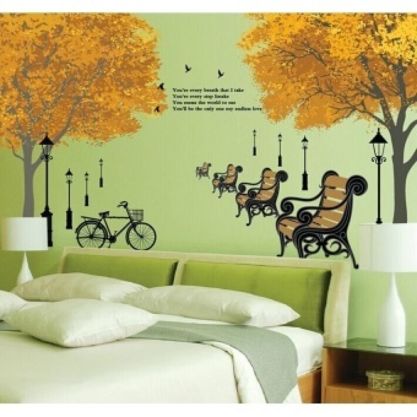 wall stickers for sale wall decals prices, brands \u0026 review inmaple scenery armchair park roadside trees diy removable wallstickers living room home decor mural decal wallpaper