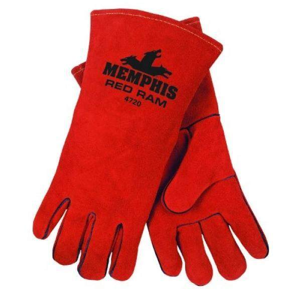 MCR Safety 4720 13-Inch Red Ram Split Cowhide Leather Welder Mens Gloves with Wing Thumb, Russet, X-Large, 1-Pair - intl