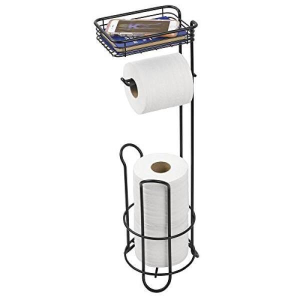 mDesign Free Standing Toilet Paper Holder with Shelf for Bathroom - Matte Black - intl