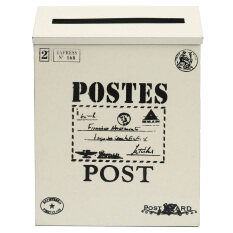 Metal Tin Locking Waterproof Post Card Mailbox Vintage Wall Hanging Mail Box New  creamy-white