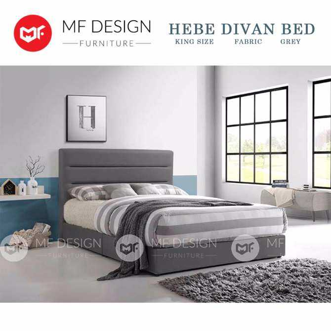 MF DESIGN HEBE King Size Divan Bed Frame 6 Feet KATIL (Grey) - FabricUpholdstery (Upgraded super base)