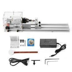 Mini Lathe Beads Machine Woodworking DIY Lathe Standard Set w/ Power DC 24V 80W