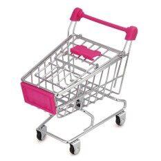 Mini Shopping Cart Kids Toy Creative Desktop Shelves Puff Storage Rack Pink