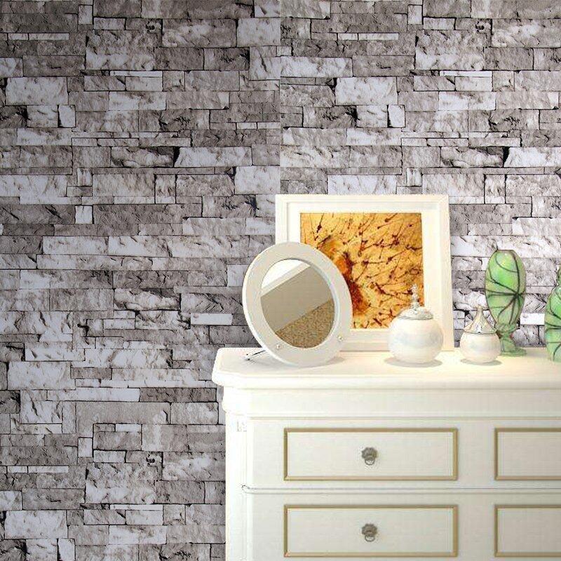 Yin Xn Bata Modern Wallpaper untuk Dinding 3 D Di Gulungan Ruang Keluarga Desktop Mural 3D Wallpaper Di Dinding (Abu-abu)
