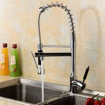 อ่างโครเมี่ยมทันสมัยก๊อก Pull Out Spray Mixer หมุนครัวอ่างล้างหน้าในห้องน้ำก๊อกน้ำอ่างก๊อกน้ำ-