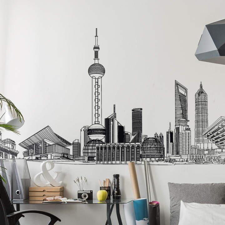 Modern Minimalist Architecture Sticker Creative Cool Wall Sticker Living Room Decoration Self-Adhesive Wallpaper Removable Wallpaper