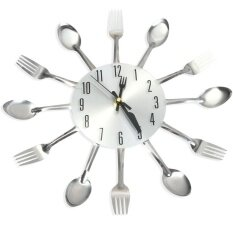 Modern Stainless Steel Knife Fork Wall Clock Analog For Home Office By Enrich Your Life.