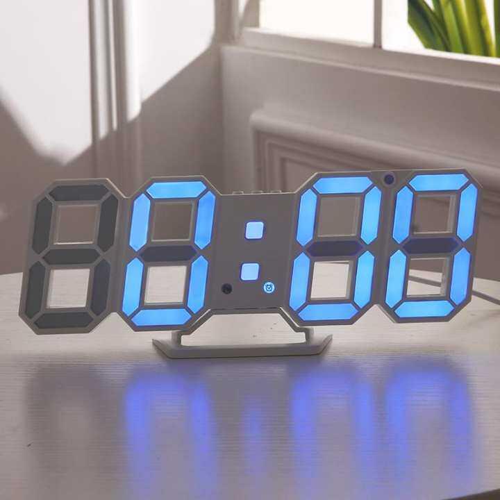 Đồng Hồ LED Kỹ Thuật Số Treo Tường Ban Đêm Để Bàn Hiện Đại Đồng Hồ Báo Thức Hiển Thị 24/12 Giờ, Màu Xanh