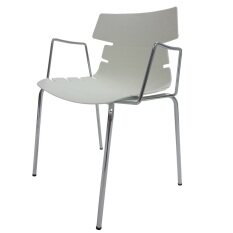 Modern Zazzle Arm Dining Chair - Chrome With White PP