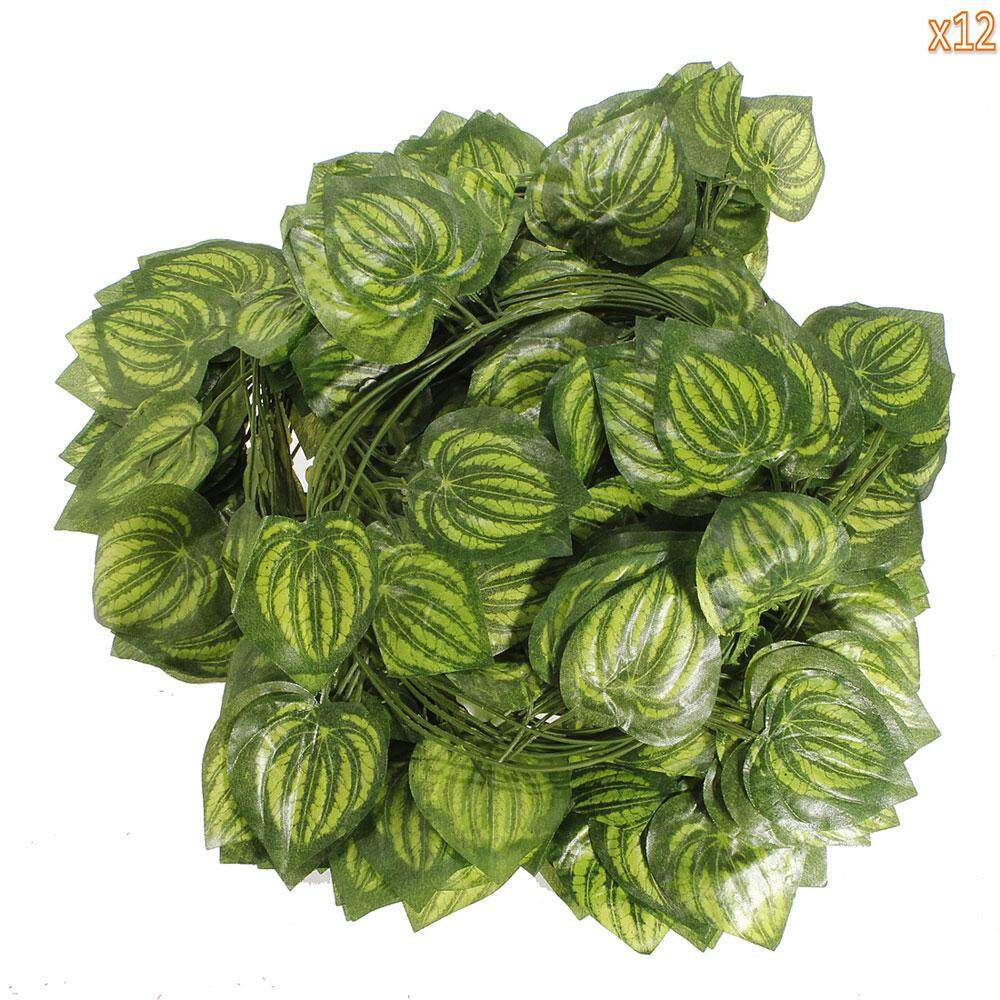moppm 12 Pcs Artificial Silk Grape Leaves Ivy Home Garden Wall Wedding Decoration(Green) - intl