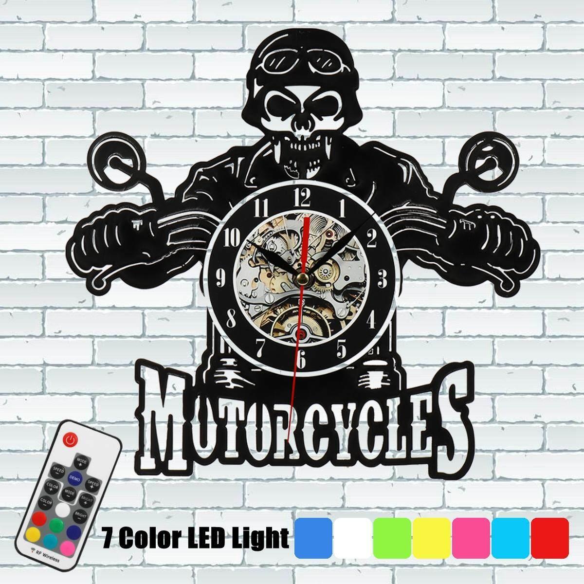 Motor Harley Klasik Raja Tengkorak Vinil Jam Dinding dengan LED Ringan Malam Ringan-Internasional
