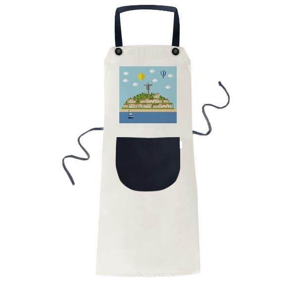 Mount Corcovado Fire Balloon Brazil Cooking Kitchen Beige Adjustable Bib Apron Pocket Women Men Chef Gift - intl