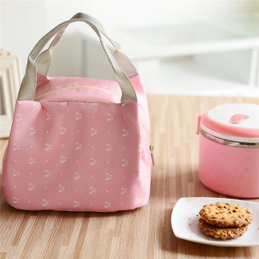 MU High Quality Portable Insulated Tote Lunch Bag For Women Kidslunch Box Bag Pink Butterfly (