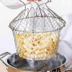 Multi-Function Folding Rinse Stainless Steel Frying Basket Cook Special Kitchen By Zloyi.
