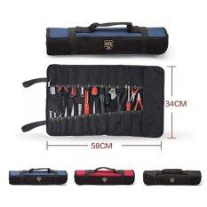 22-Pocket Tool bag Multi-Purpose Reel Rolling Tool Bag Plier Screwdriver Spanner Carry Case Pouch Bag (Black)