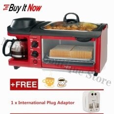 Multifunction 3 In1 Family Size Breakfast Station Breakfast Center Toaster Oven Electric Frying Pan Coffee Maker Breakfast Machine (red) By Nantang Boutique Store.