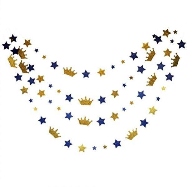 Mybbshower Mybbshower Royal Blue Stars and Gold Glitter Crown Paper Banner for Boy Birthday Party Decoration Pack of 20 Feet - intl