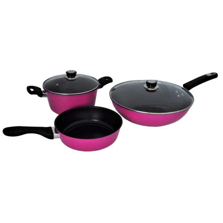 NAVITASS Premium Quality 5pcs Non-Stick Coating Cookware Set (Purple Pink)