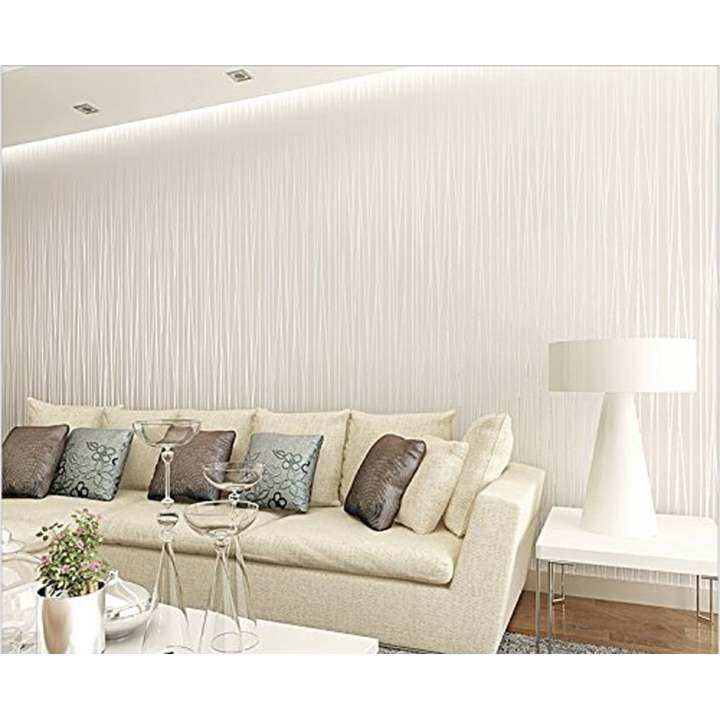 New 10m 3D Simple Irregular Stripe Modern Home Embossed Textured Lines Wallpaper Home Deco Wall Sticker (Beige) - intl