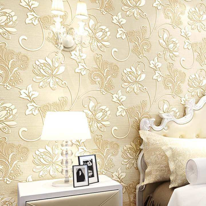New 3D 10m Modern Luxury Non-woven Design Wall Stickers Textured Embossed Flocking Wallpaper Roll (Beige White) - intl