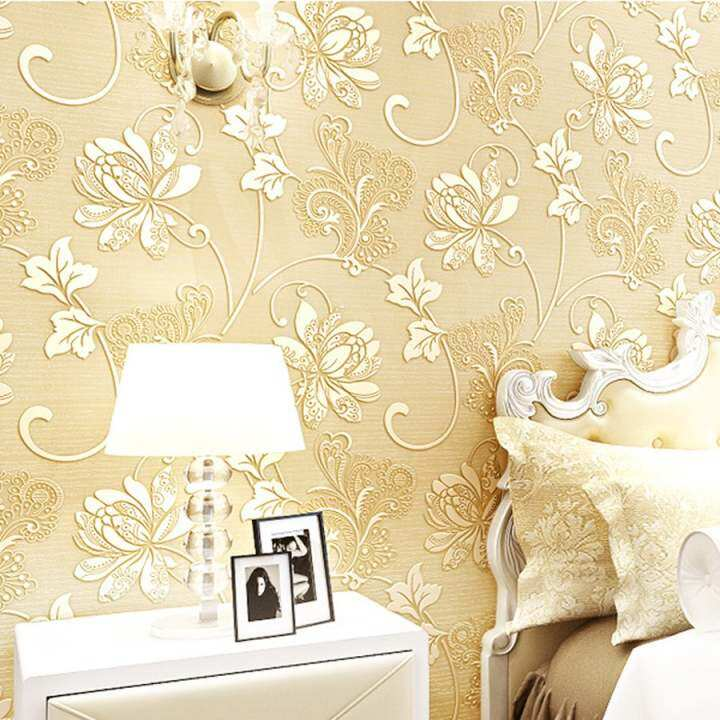 New 3D 10m Modern Luxury Non-woven Design Wall Stickers Textured Embossed Flocking Wallpaper Roll (Beige Yellow) - intl
