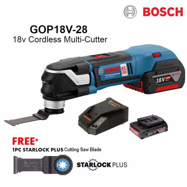new bosch gop18v 28 cordless multi cutter c w 1x battery 1x charger 1 year warranty. Black Bedroom Furniture Sets. Home Design Ideas