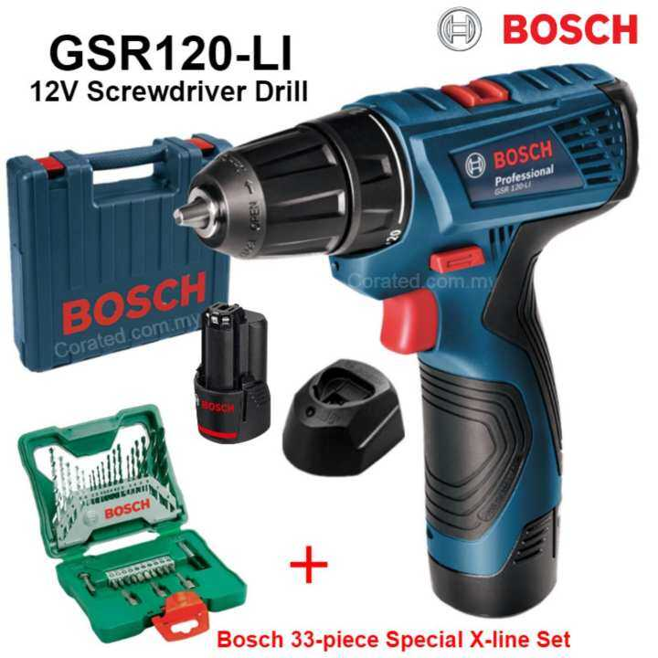 new bosch gsr120 12v cordless screwdriver drill limited edition bosch 33 piece special x. Black Bedroom Furniture Sets. Home Design Ideas