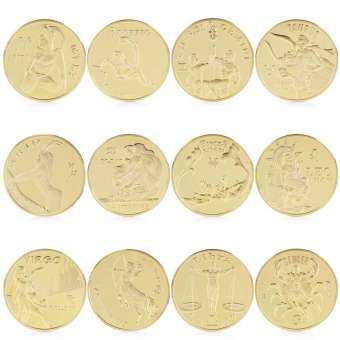 New Commemorative Coin 12Pcs Gold Plated Twelve 12 constellation Souvenir Coin Collection Physical
